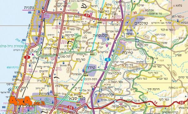 מפת המסלול בקנה מידה 1/250000 - קטע דרומי