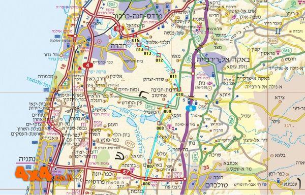 מפת המסלול בקנה מידה 1/250000 - קטע צפוני