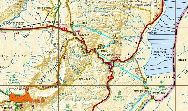 מפת מסלול הטיול בקנה מידה 1/250,000