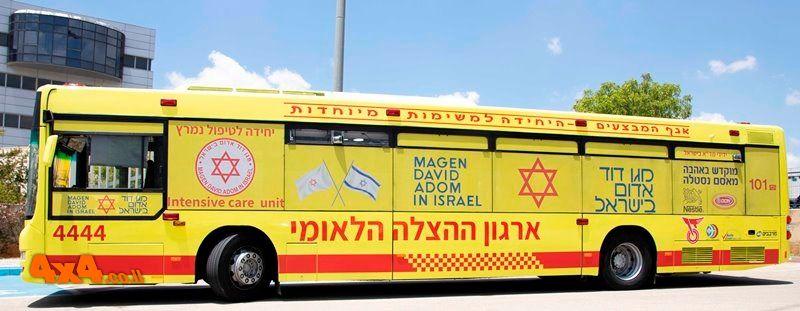 מגן דוד אדום משיק אוטובוס תוצרת מאן לפינוי חולים ופצועים ברמת ניידת טיפול נמרץ