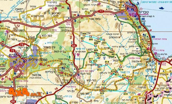 מפת מסלול הטיול בקמה מידה 1/250,000