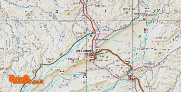 מפה בקנ''מ 1/250,000 של מזרח מכתש רמון