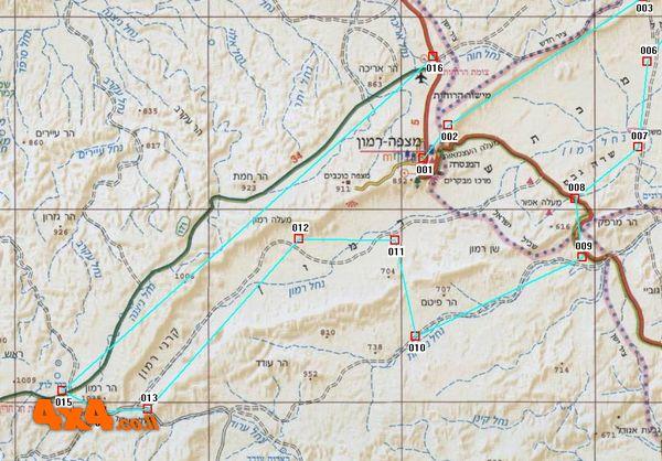 מפה בקנ''מ 1/250,000 של מערב מכתש רמון