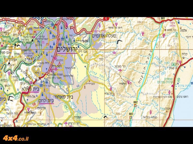 מפת המסלול (צפון) בקנה מידה של 1/250,000