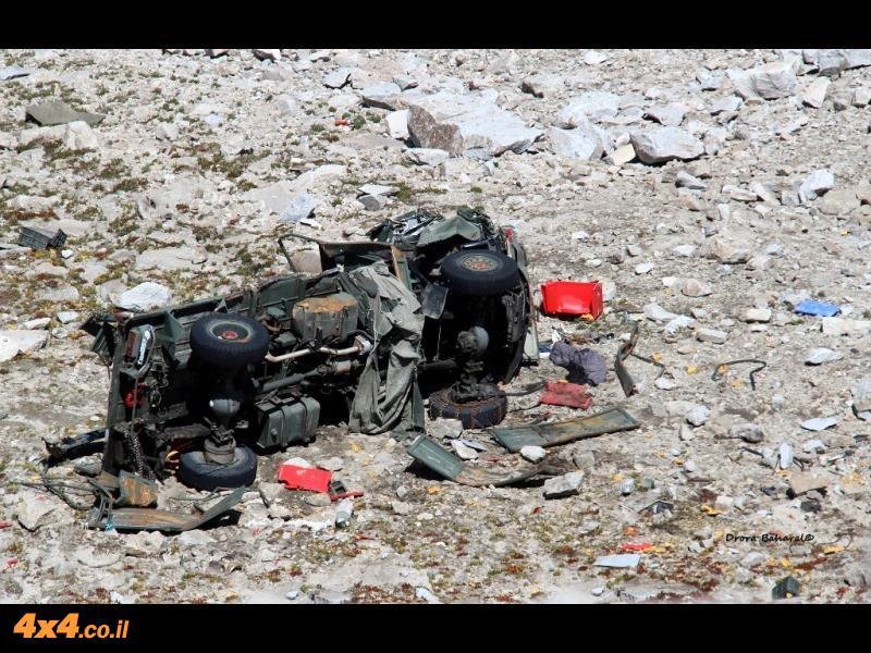 אחת המכוניות שנפגעה ממפולת השלגים