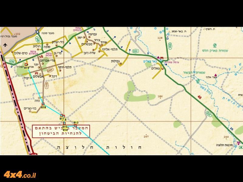 מפת מסלול הטיול בקנה מידה של 1/250,000 - החלק הצפוני
