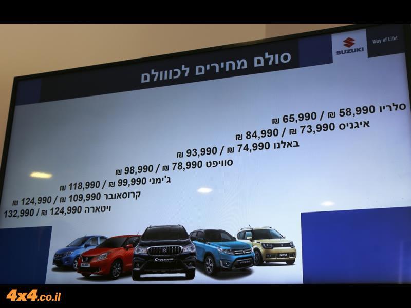 ההיצע של סוזוקי בישראל עם סולם המחירים (שקף מתוך מצגת):