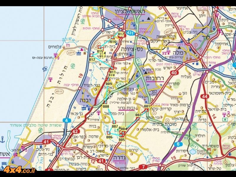 מפת מסלול הטיול בקנה מידה של 1/250,000