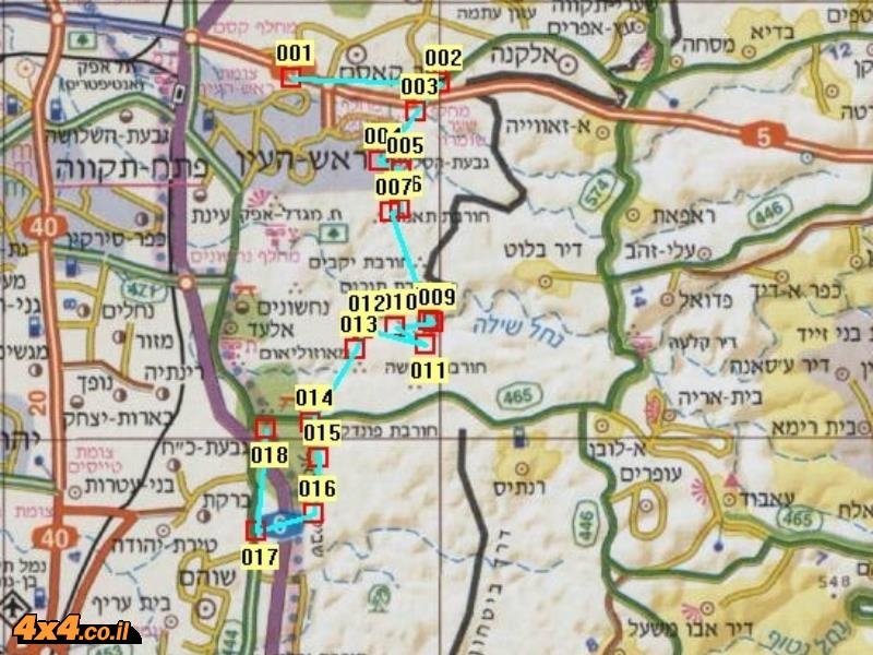 מפת המסלול המעודכן 2013 במפה בקנ