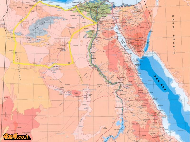 מפת מצרים עם סימון המסלול