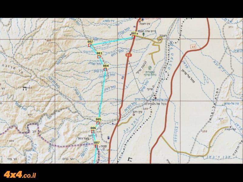 מפת המסלול בקנה מידה של 1/250,000 - חלק צפוני