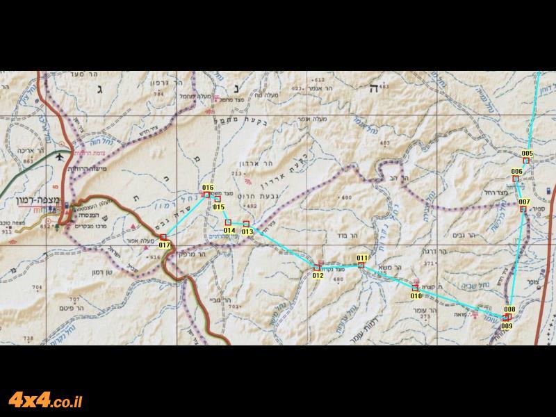 מפת המסלול בקנה מידה של 1/250,000 - חלק מערבי