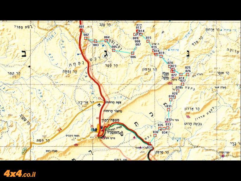 מסלול B - היום השני על מפה בקנה מידה של 1/250,000