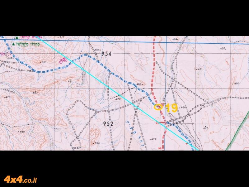 מפת הפנייה צפונה ליציאה דרך נחל ציחור ונחל פארן (השביל האדום)