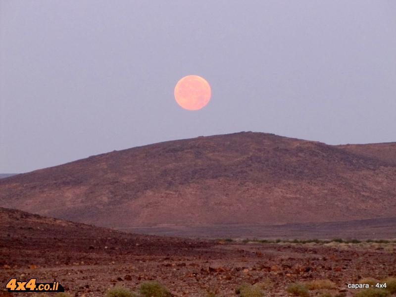 שקיעת הירח המלא במדבר  - מראה מיוחד