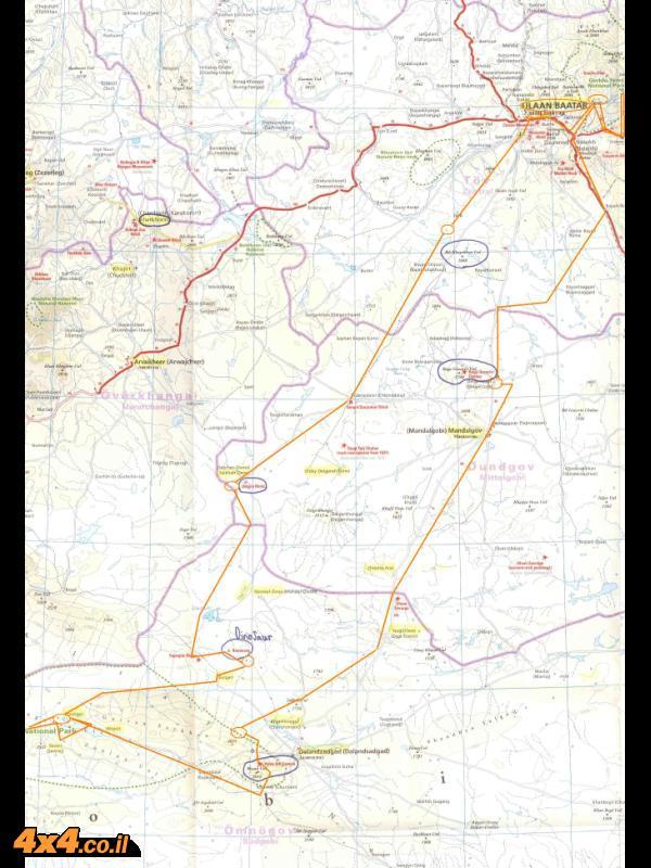מפת דרום מונגוליה, מדבר גובי ומסלול הטיול
