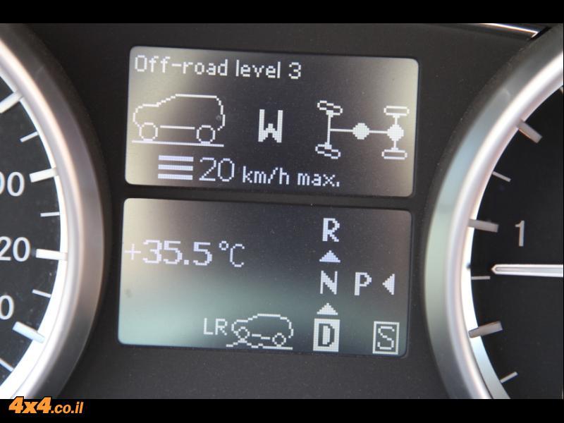 במרכז לוח השעונים: מצב גיר, גובה הרכב, מצב הנעילות, הילוך כוחף מצפן וטמפרטורה בחוץ (חם!)