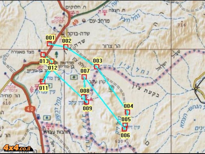 מפת המסלול בקנה מידה 1/250,000