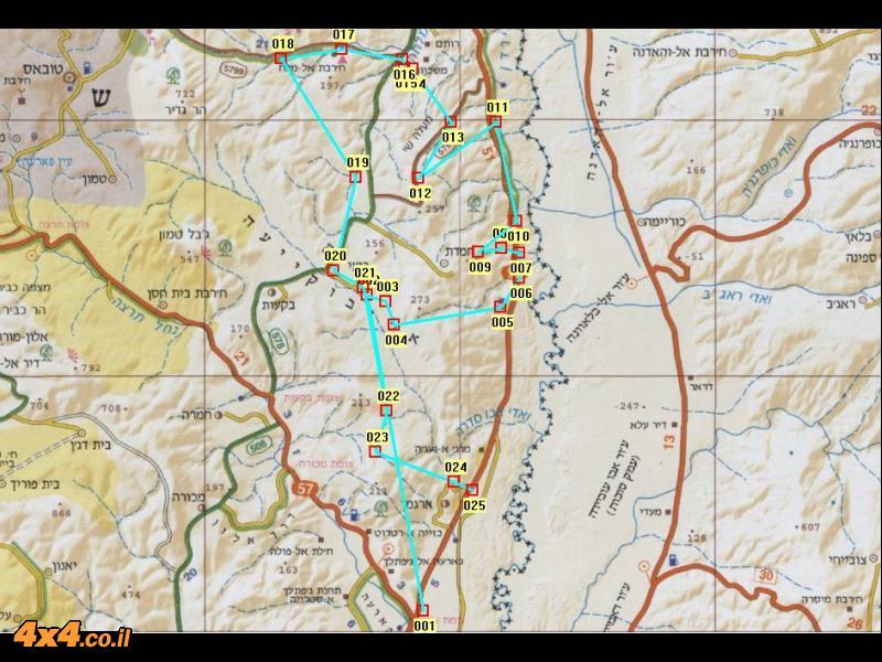 מפת מרכז המסלול בקנה מידה 1/250,000