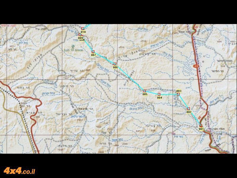 מפת דרום המסלול בקנה מידה 1/250,000