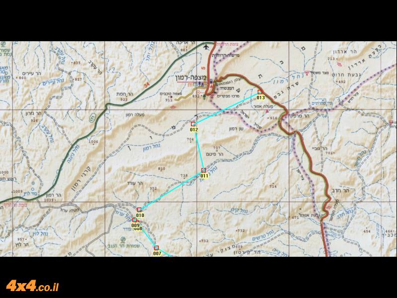 מפת צפון המסלול בקנה מידה 1/250,000
