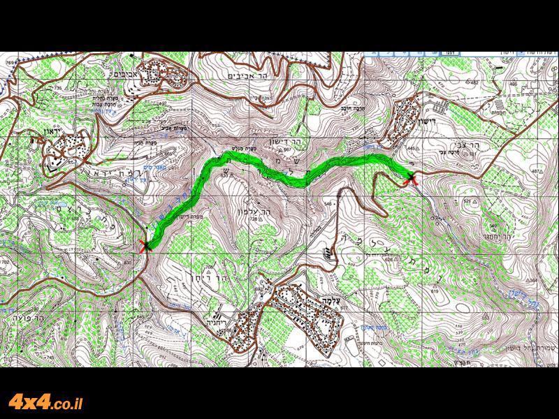 מפת האזור, קטע המסלול שייסגר מסומן בירוק