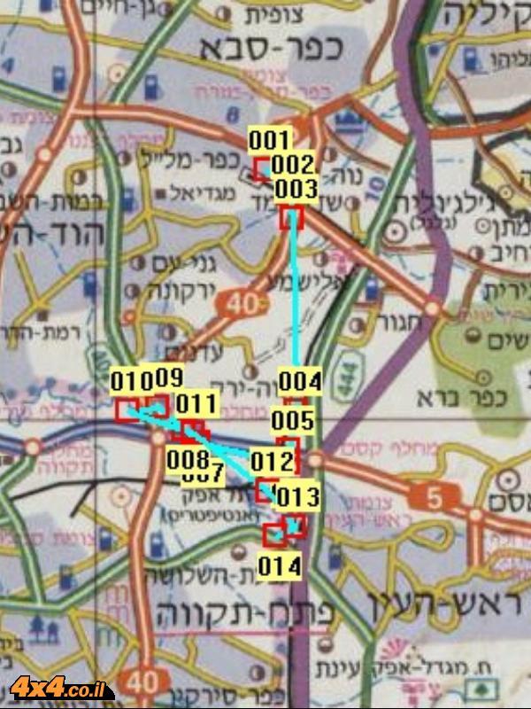 מפת המסלול בקנה מידה של 1/250,000