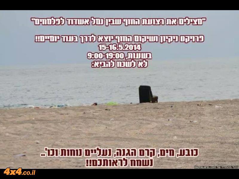 מנקים את רצועת החוף שבין נמל אשדוד ופלמחים