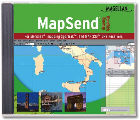 תוכנת מפות העולם MAPSEND למכשירי GPS מגלן